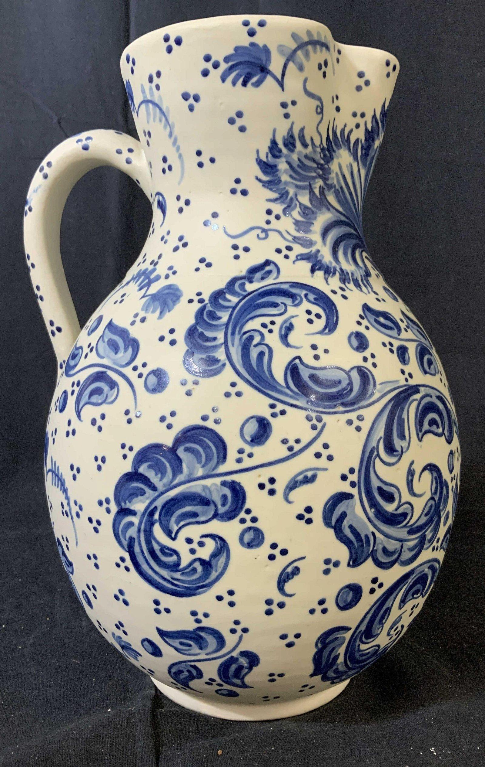 Blue White Ceramic Pitcher, Spain