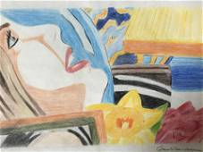 Signed Colored Pencil Drawing AFTER Tom Wesselmann