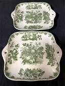 Pair Masons Ironstone Green White Plates