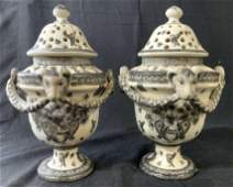 Pair Hand Painted Signed Rams Head Urns