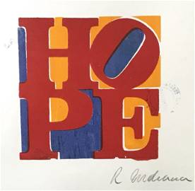 Signed HOPE Lithograph Robert Indiana