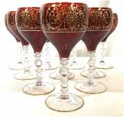 Set 10 Red Gold Bohemian Glass Stemware