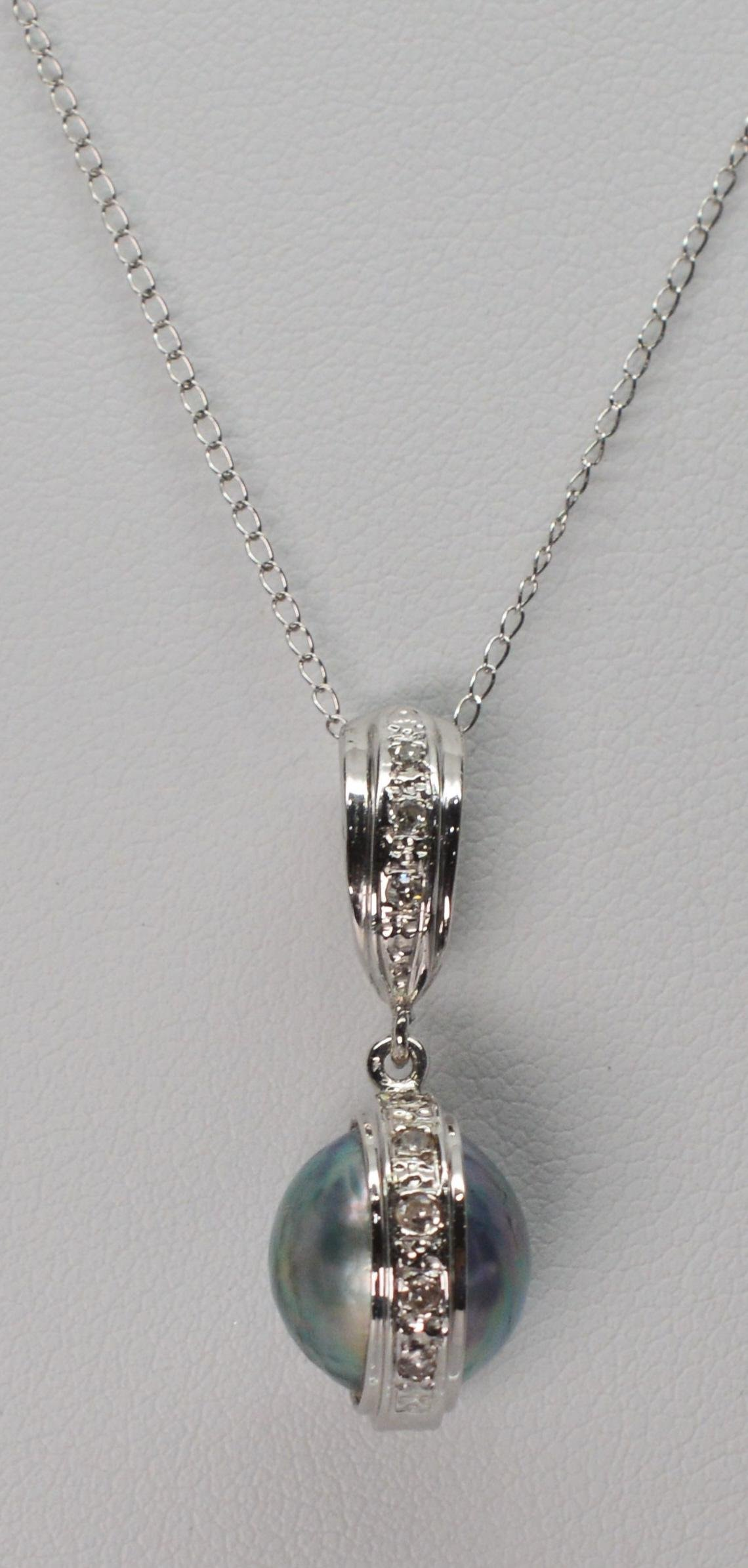 Mobe Pearl 14 K White Gold Diamond Accent Necklace