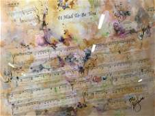 Signed Abstract Collage with Sheet Music