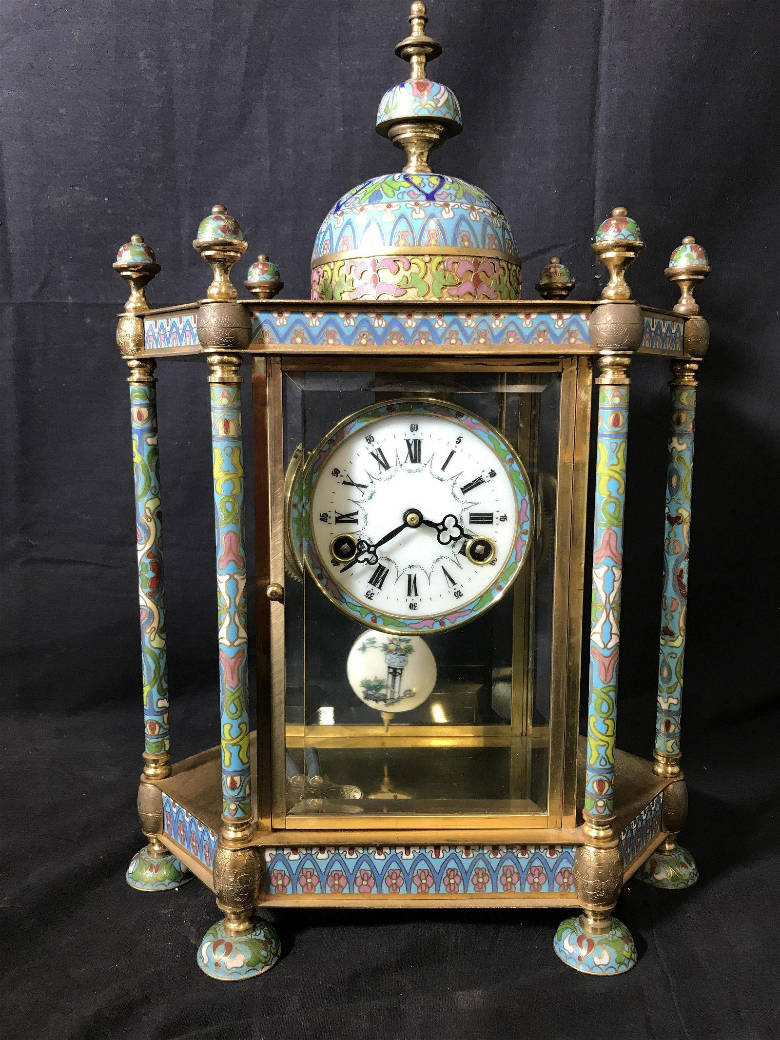 Vintage Chinese Cloisonné Mantle Clock