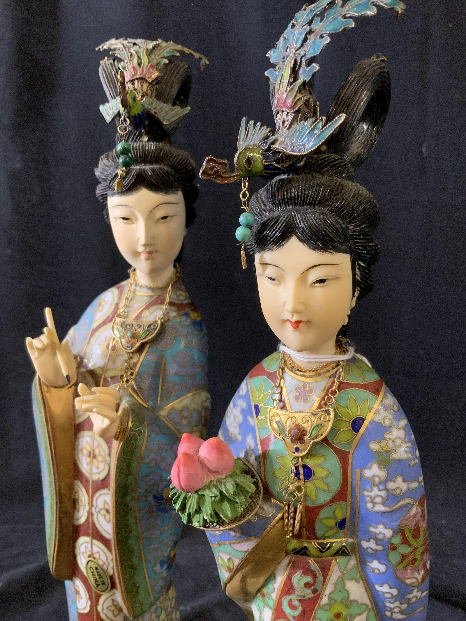 Pair Vintage Cloisonne and Painted Asian Figurals