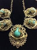 Filigree Vintage Arts & Crafts Necklace, c. 1950