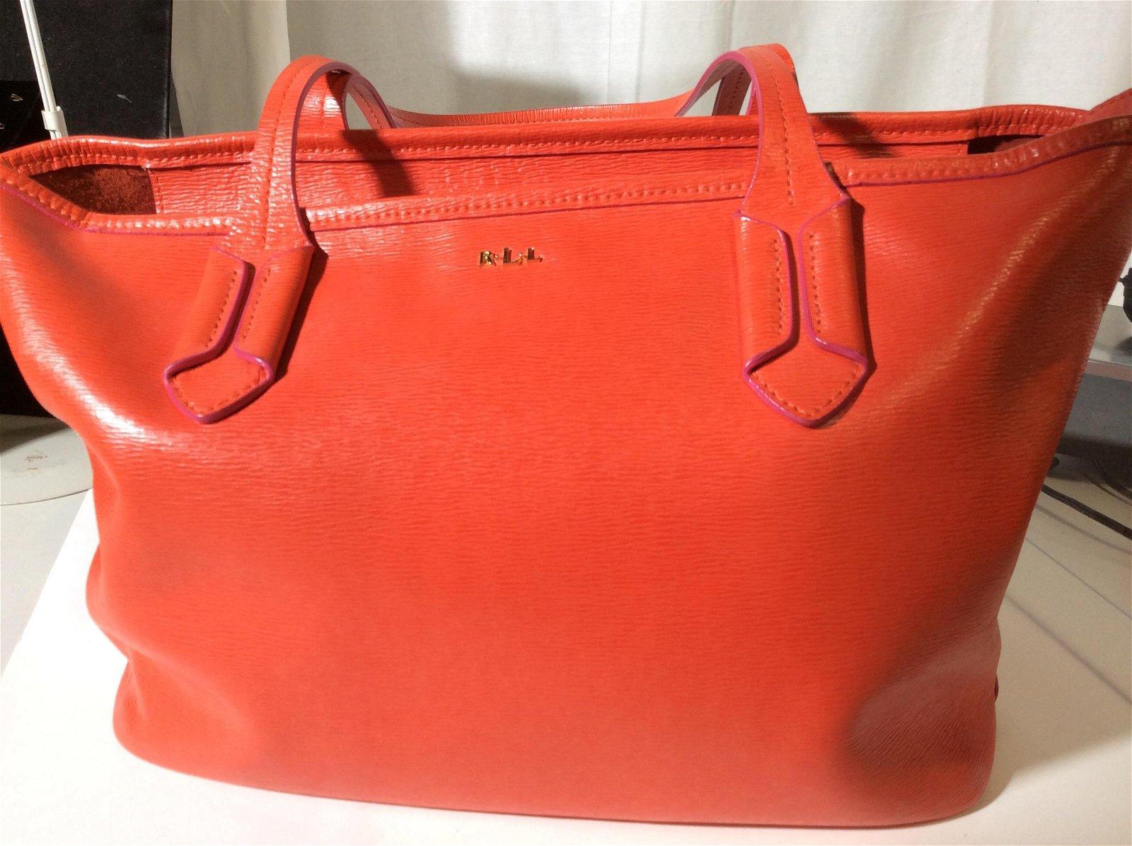 Ralph Lauren Red Leather Handbag