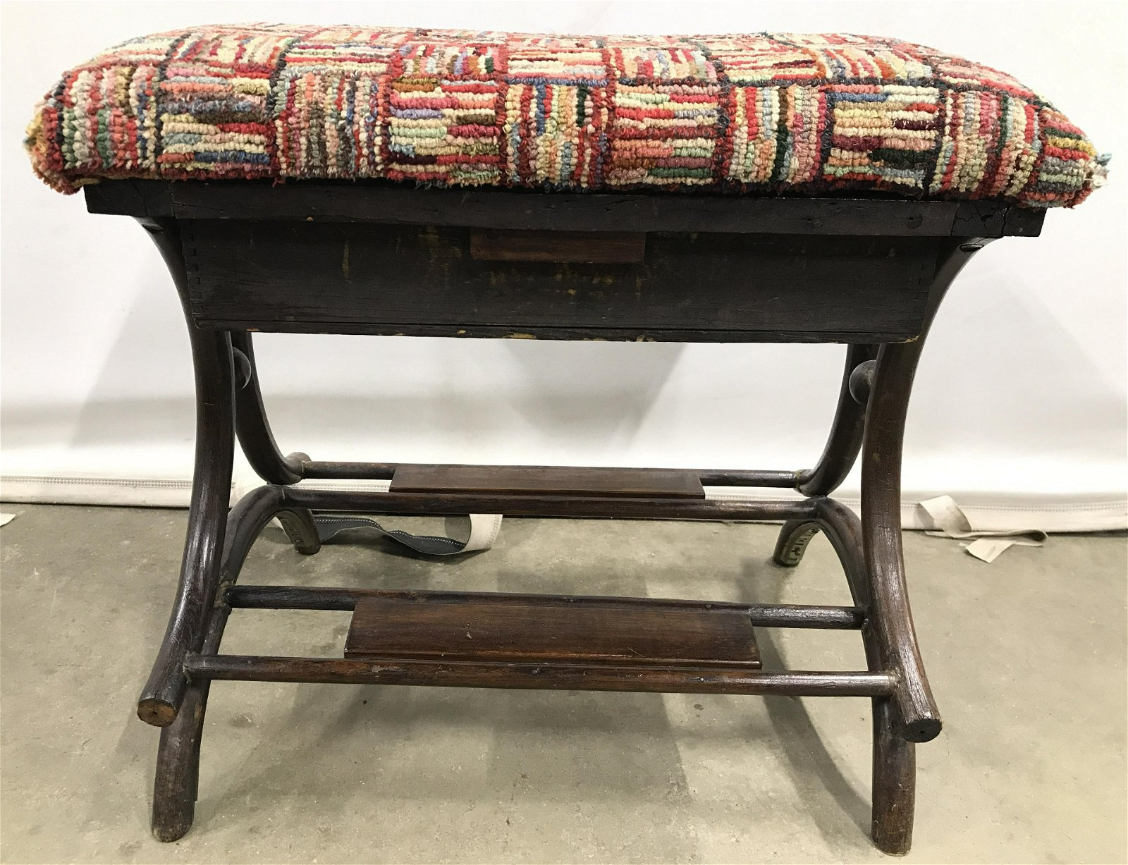 THE FAVORITE Antique Hand hooked yarn Sewing Bench