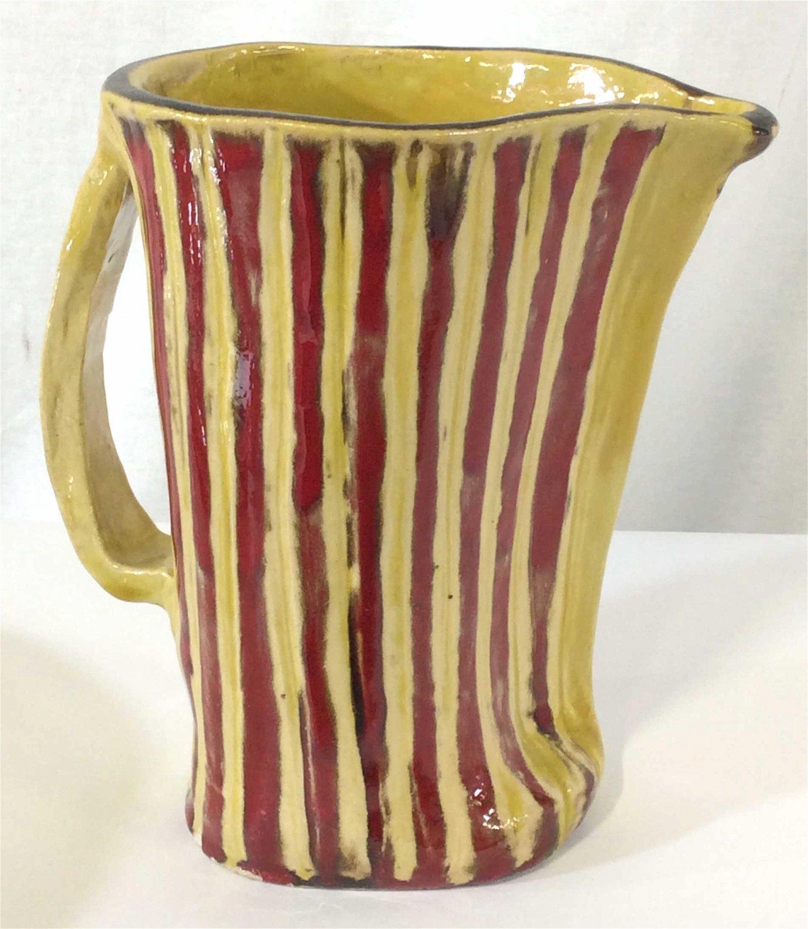 Artist Signed Glazed Ceramic Pitcher