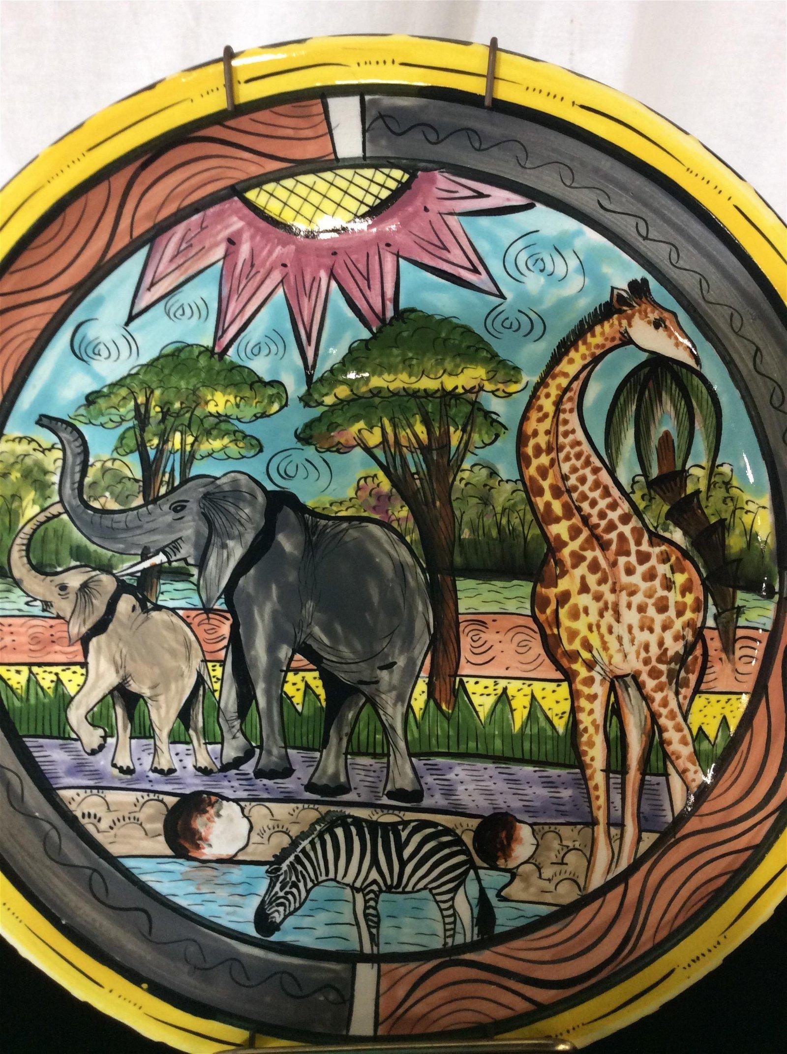 Decorative Set 3 Safari Animal Ceramics, Zimbabwe
