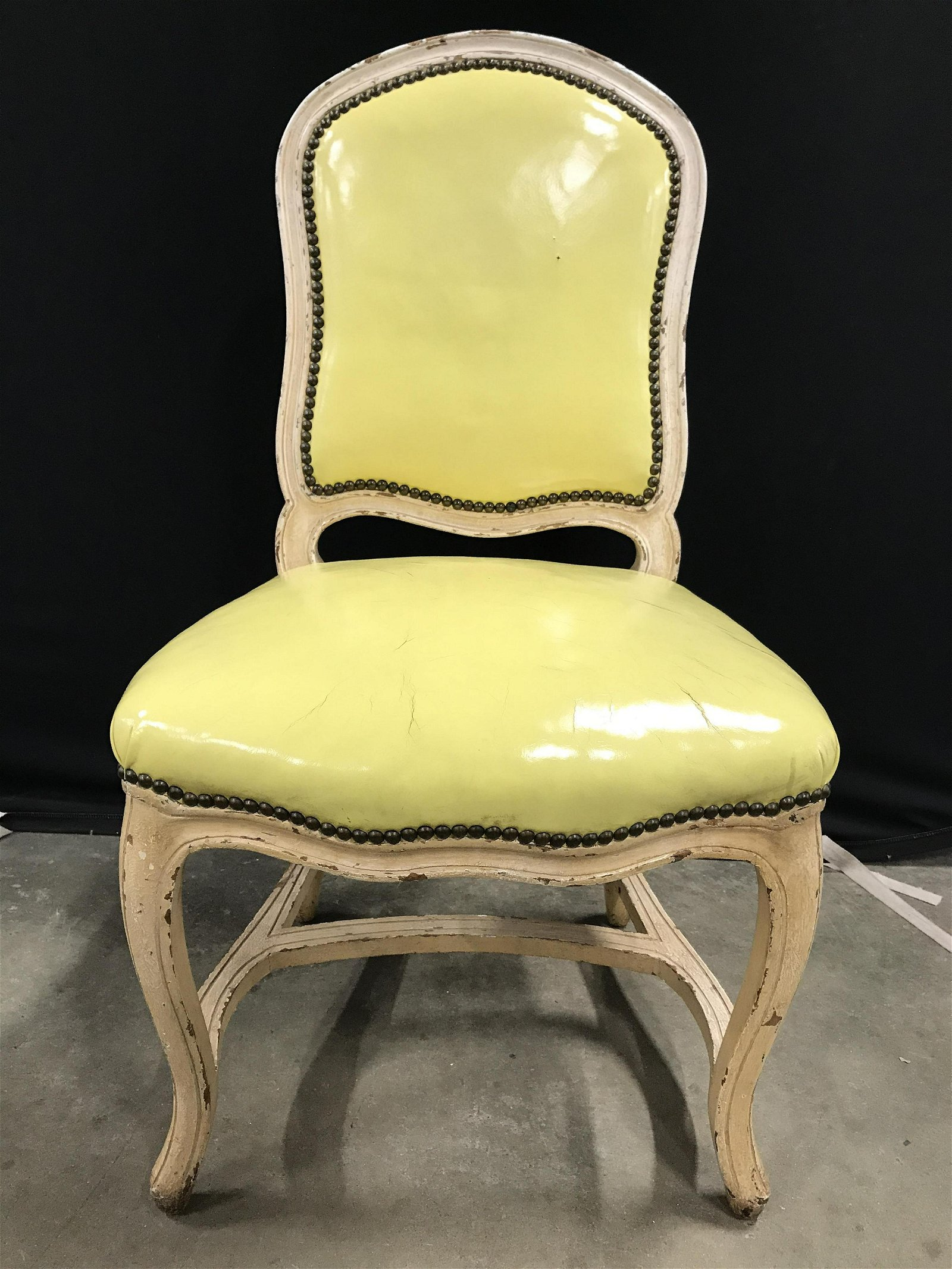4 Carved Wooden Dining Chairs, Leather Style