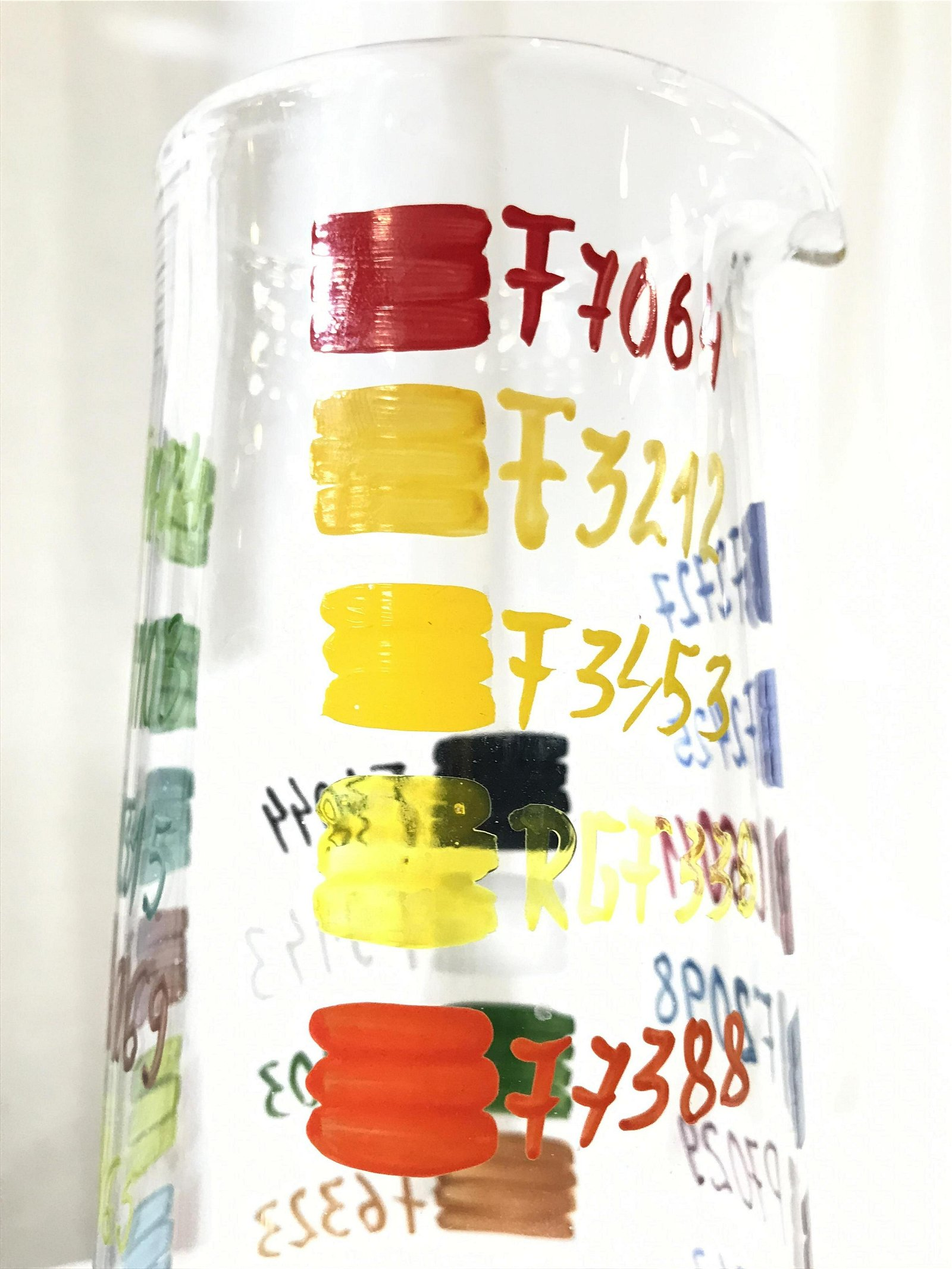 Unique Hand Painted Color Code Glass Pitcher
