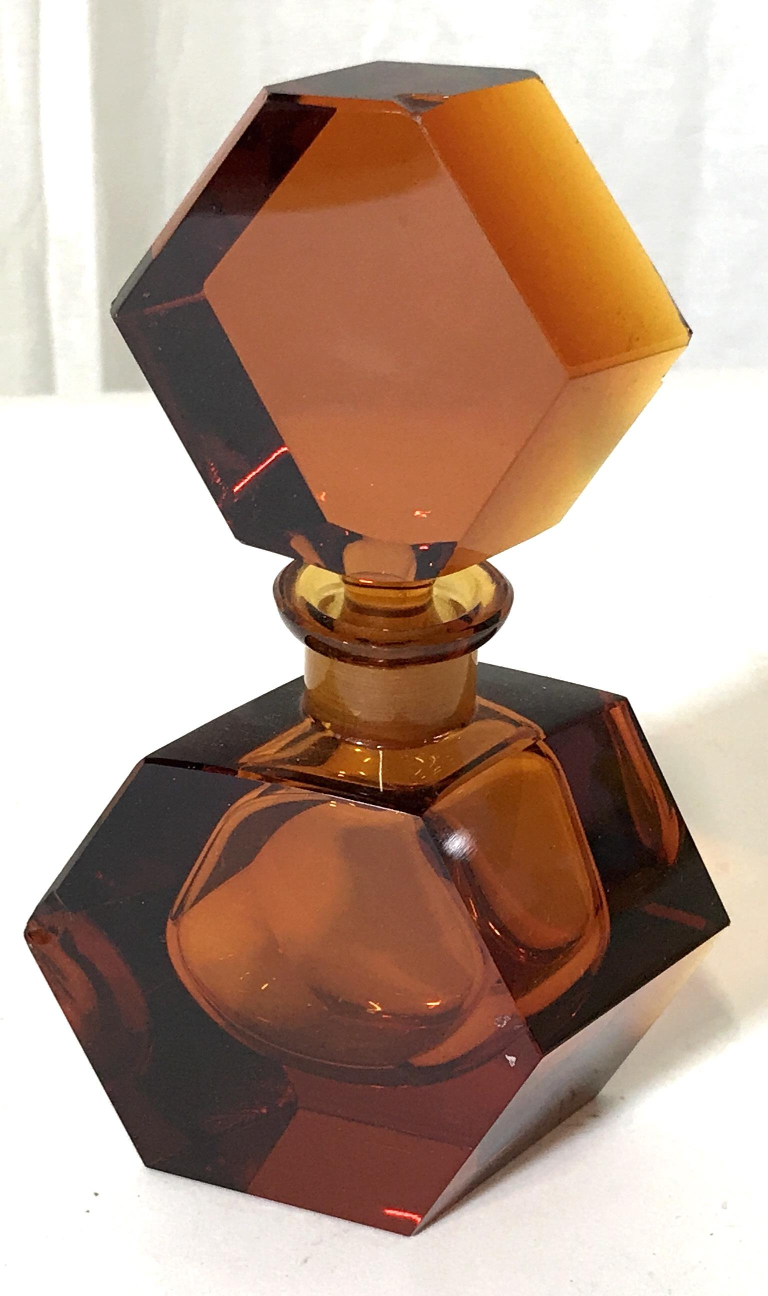 Amber Toned Glass Perfume Bottle