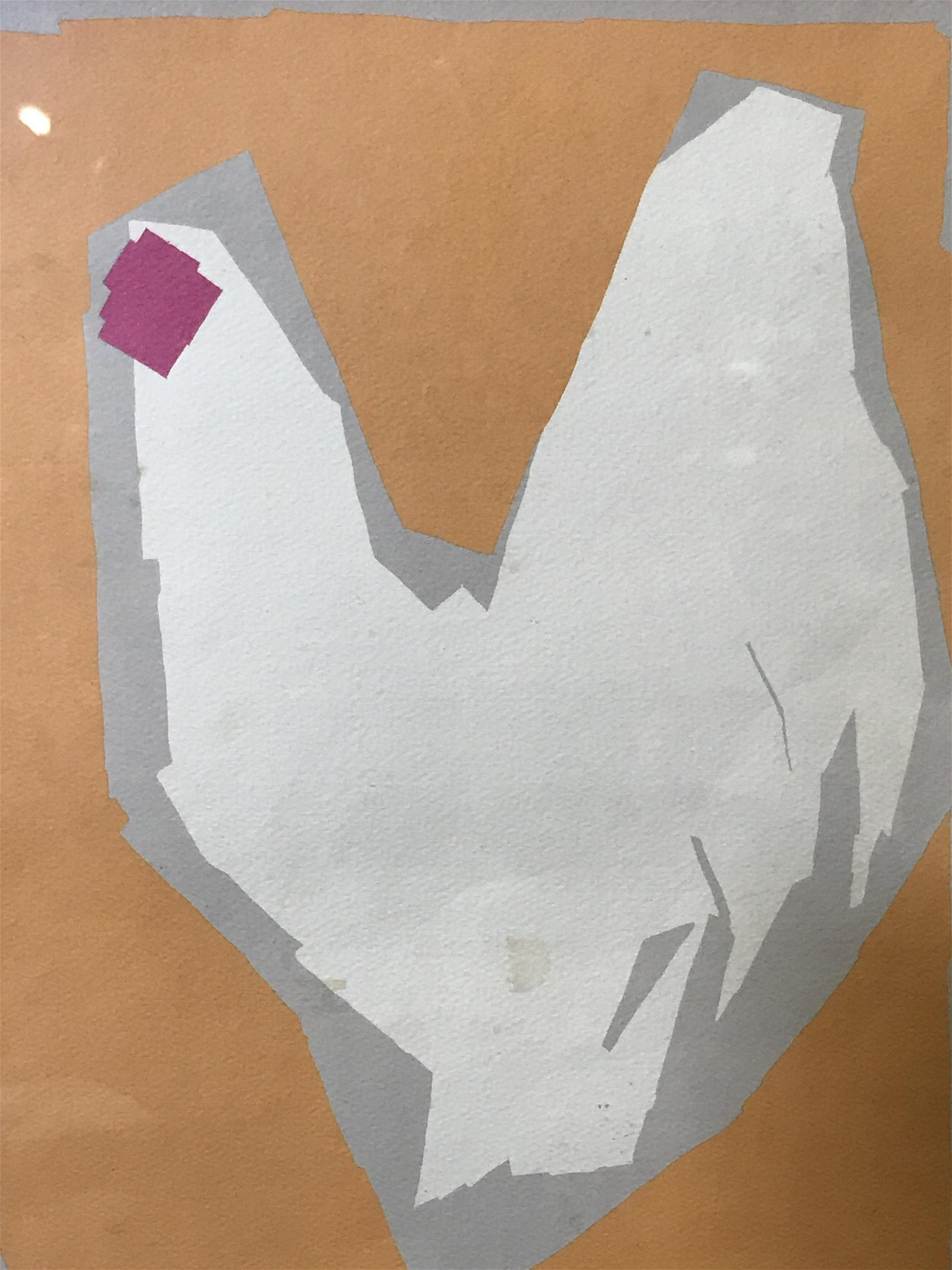 Signed Abstract Chicken Woodblock