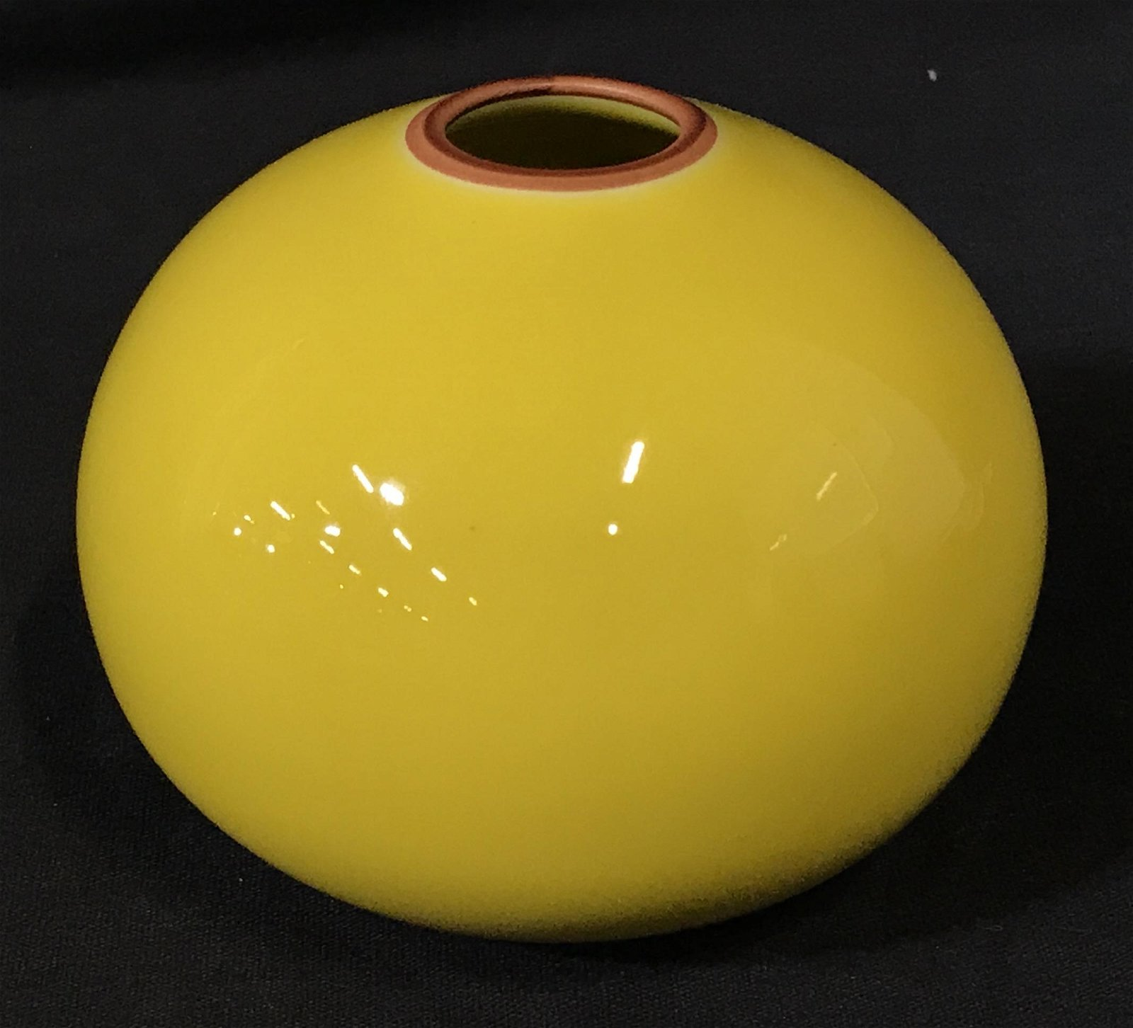 Signed Yellow Asian Porcelain Decorative Art