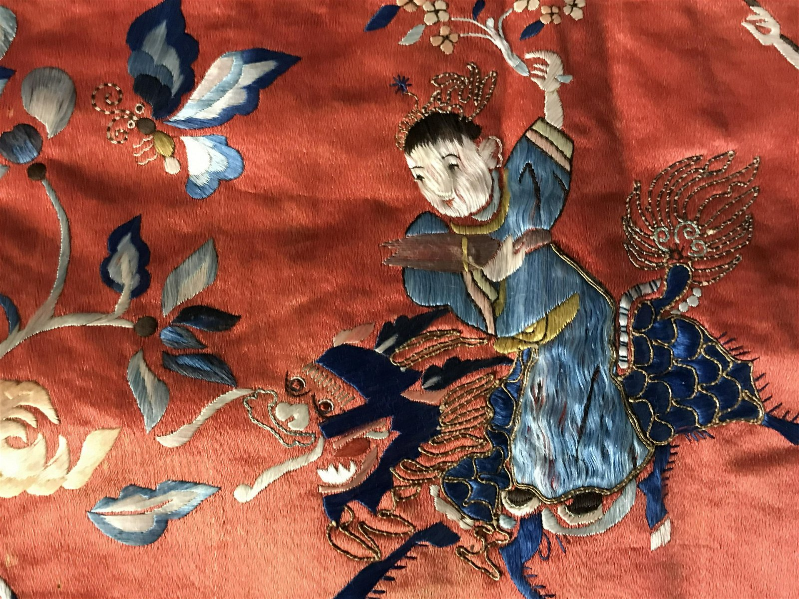 Vintage Signed Chinese Embroidered Silk Tapestry