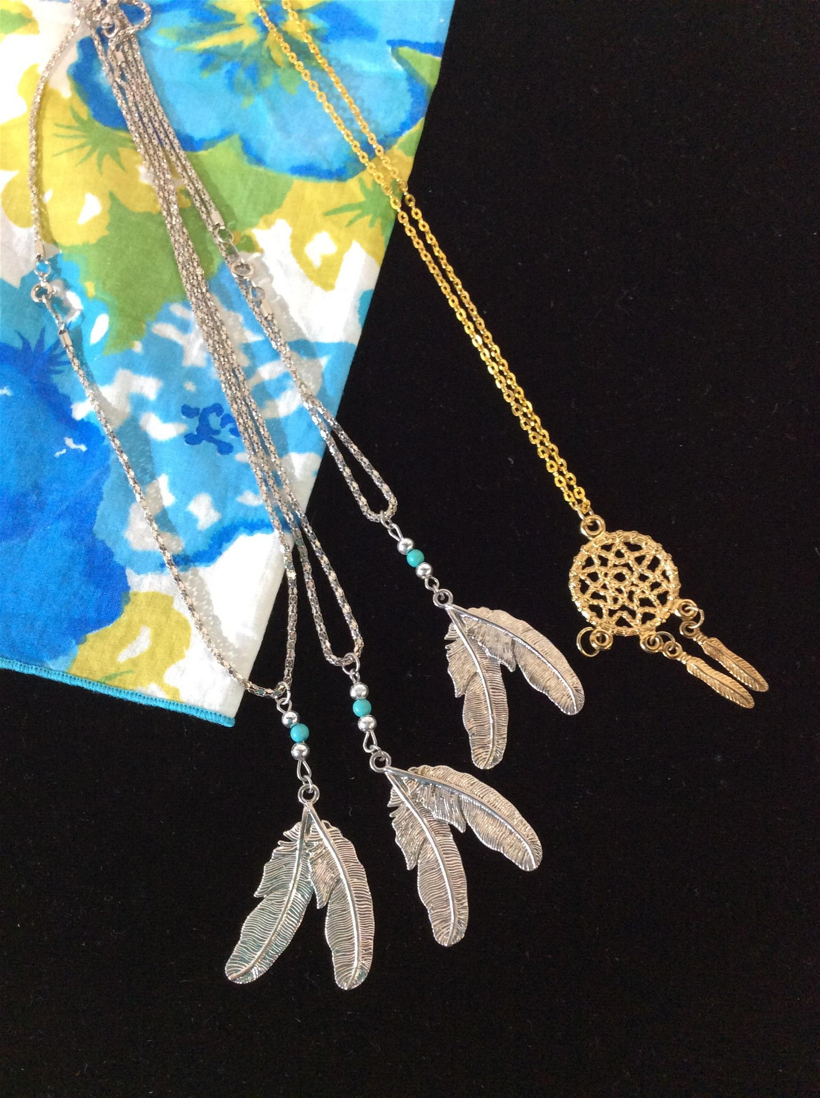 Sioux Tribal Feather + Dream Catcher Necklaces, 5