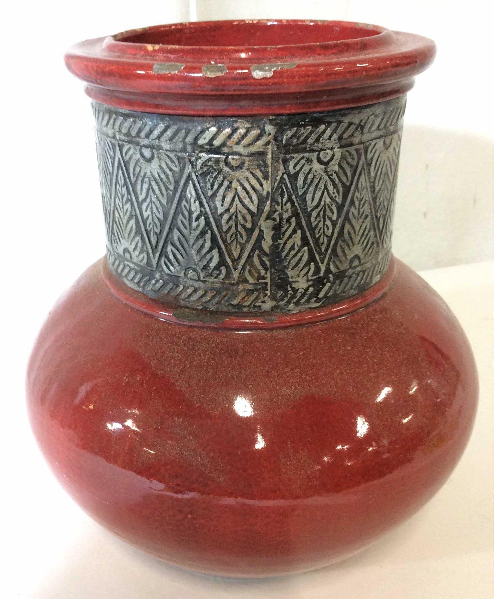 Pottery Barn Centerpiece Ceramic & Metal Vessel