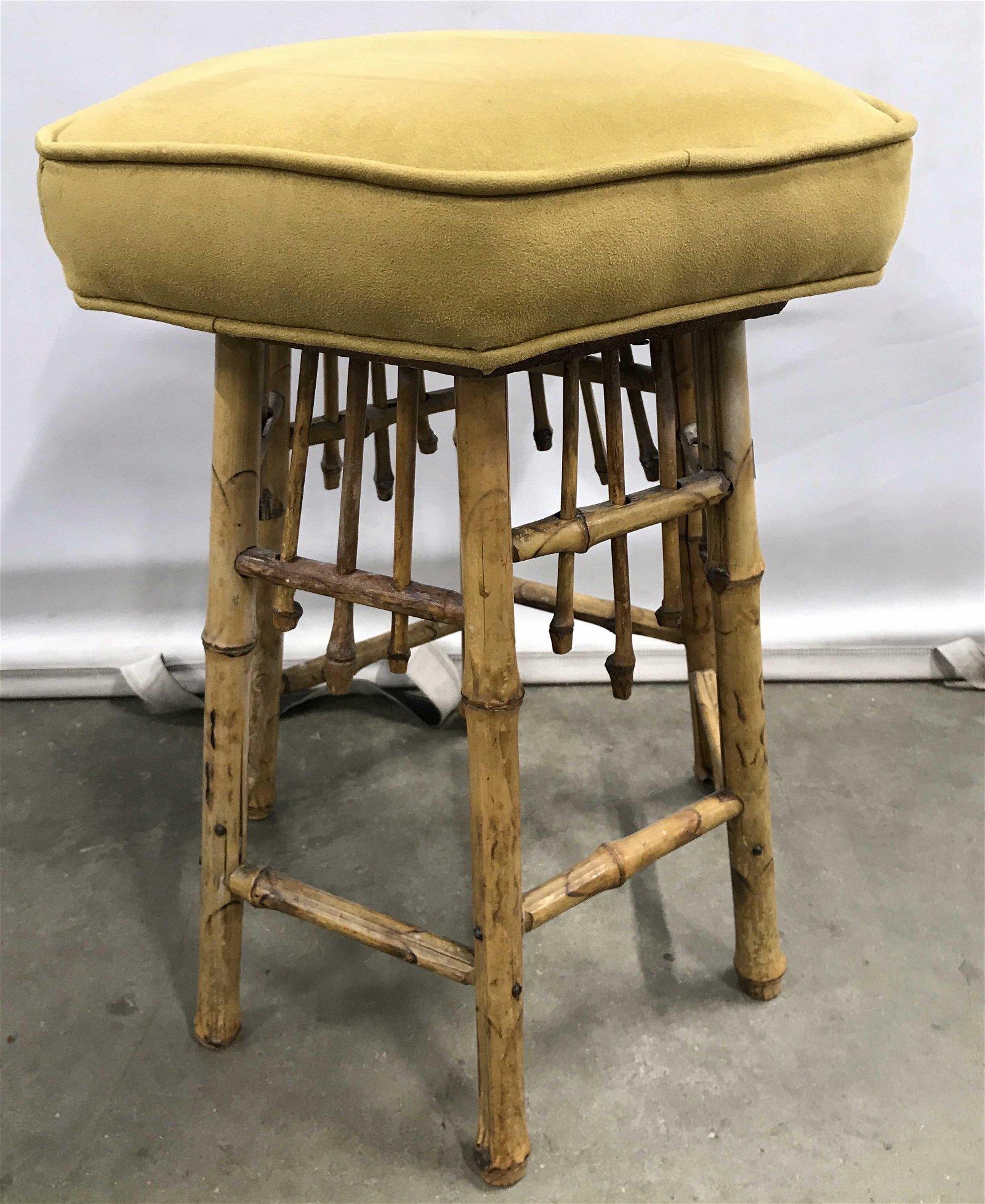 Vintage Bamboo Style Cushioned Stool