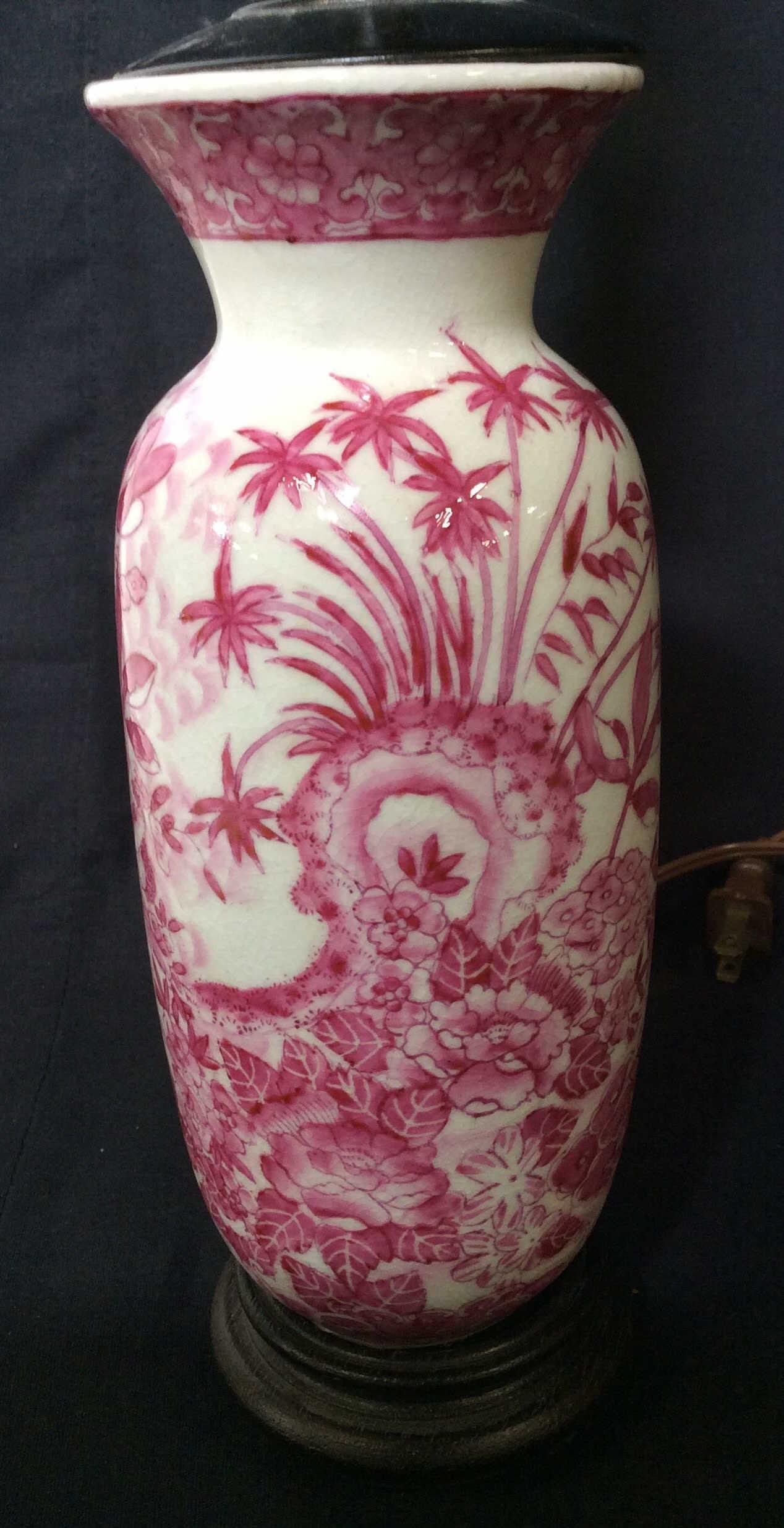 Pink & White Asian Porcelain Table Lamp