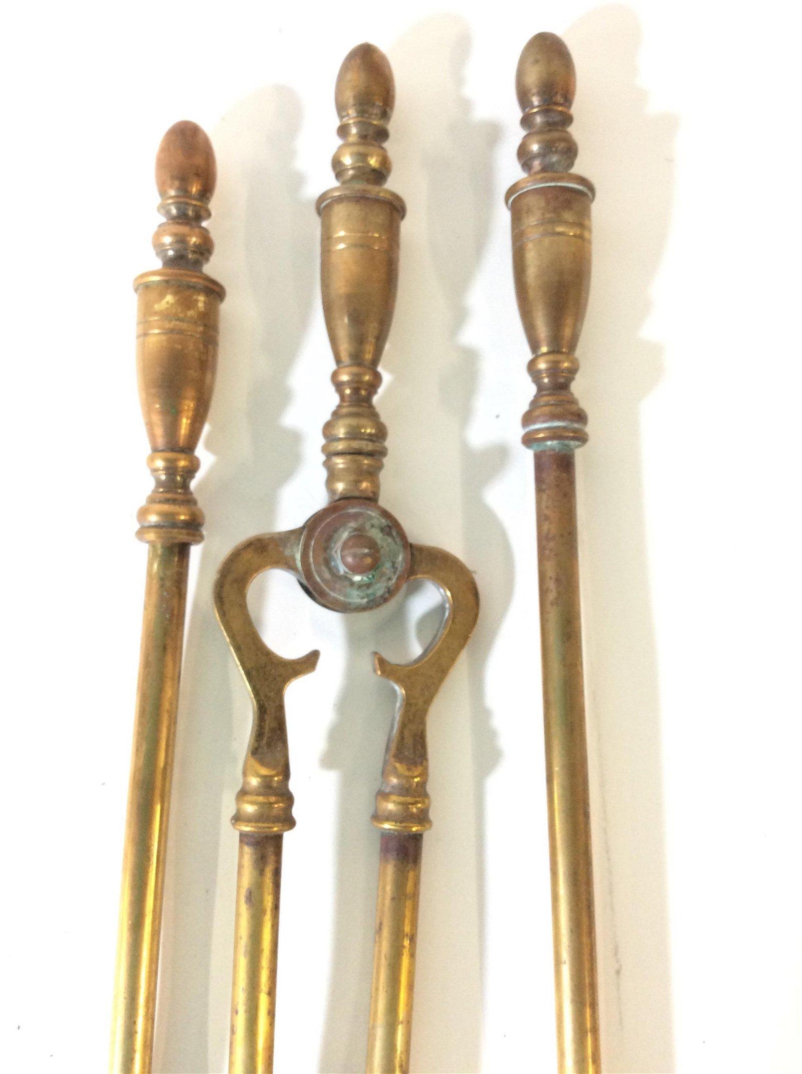 Vintage Brass tnd Fireplace Tools Kit, 5 pcs