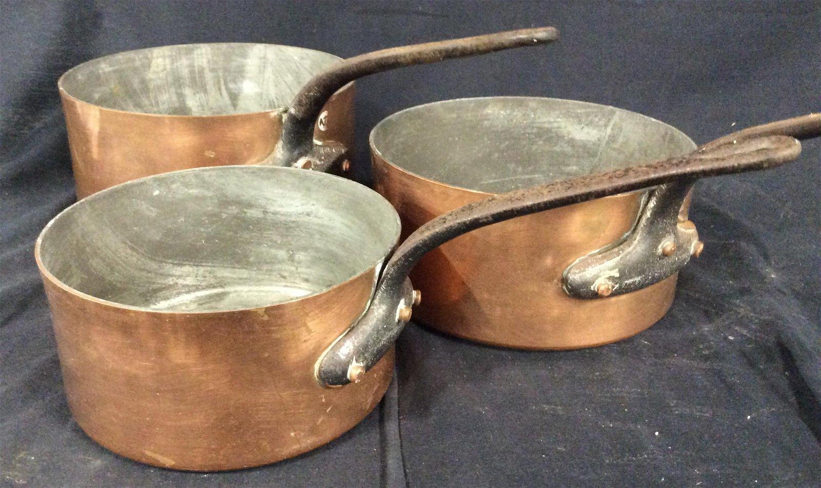 Collectibles Set 3 Villedieu Copper  Iron Pots