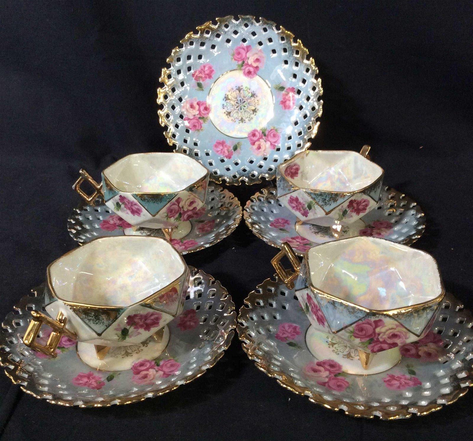 Set 9 Royal Halsey Fine Lusterware Tea Service