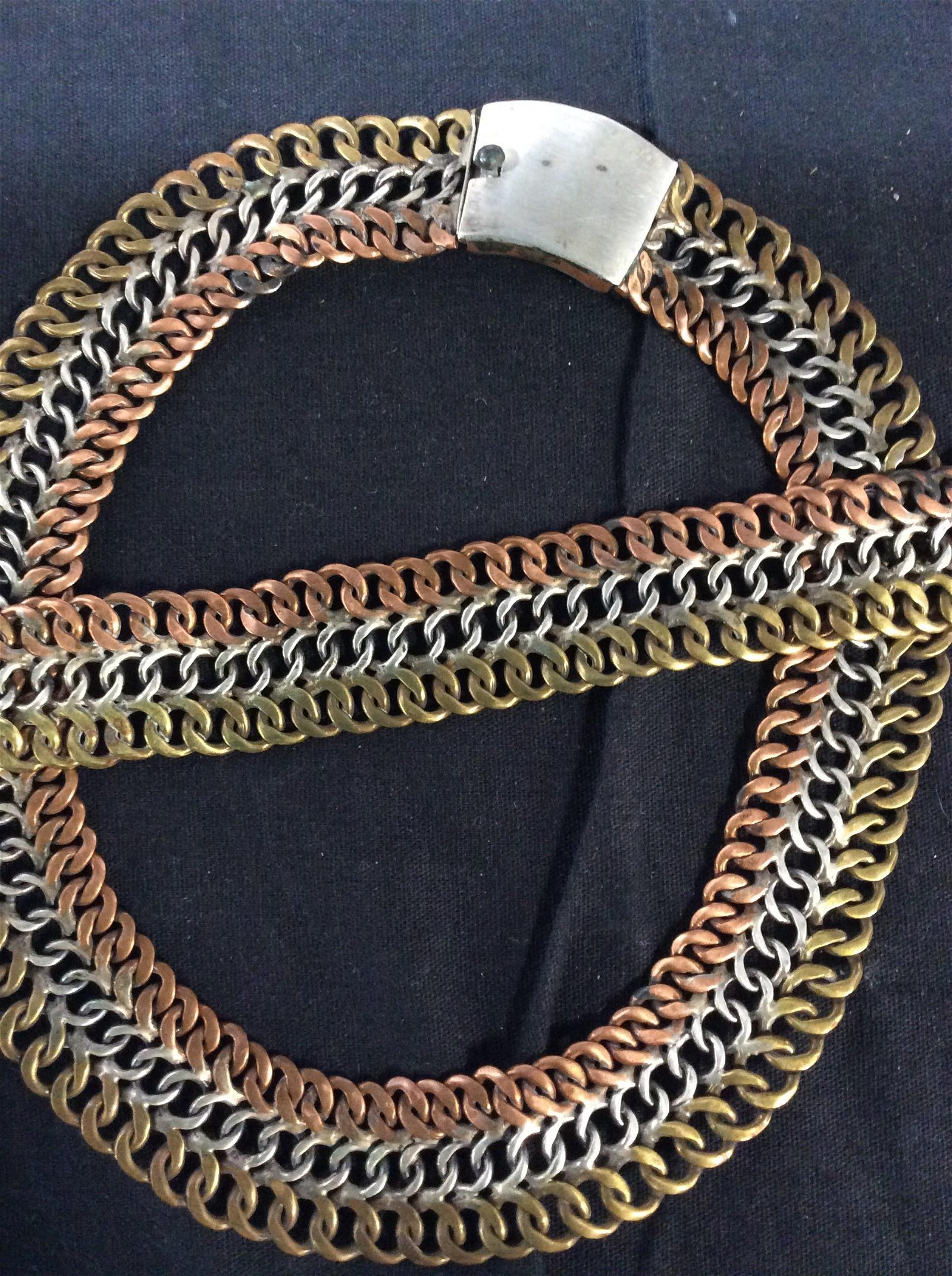 Jewelry Set TAXCO TriColor Woven Metal  Link, 2 pc