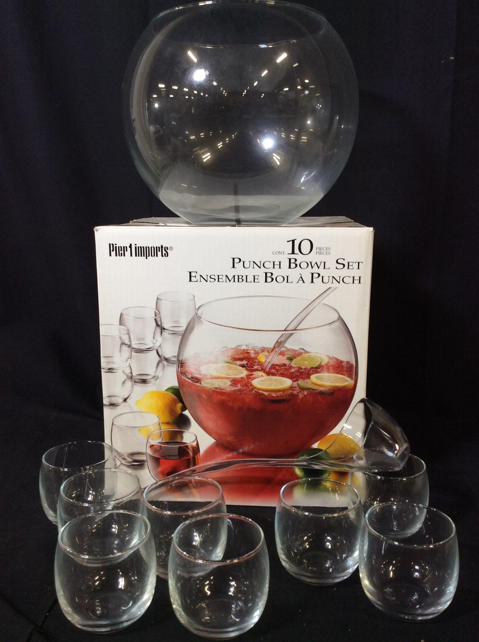 Pier 1 Imports Glass Punch Bowl 10 pc Set, Org Box