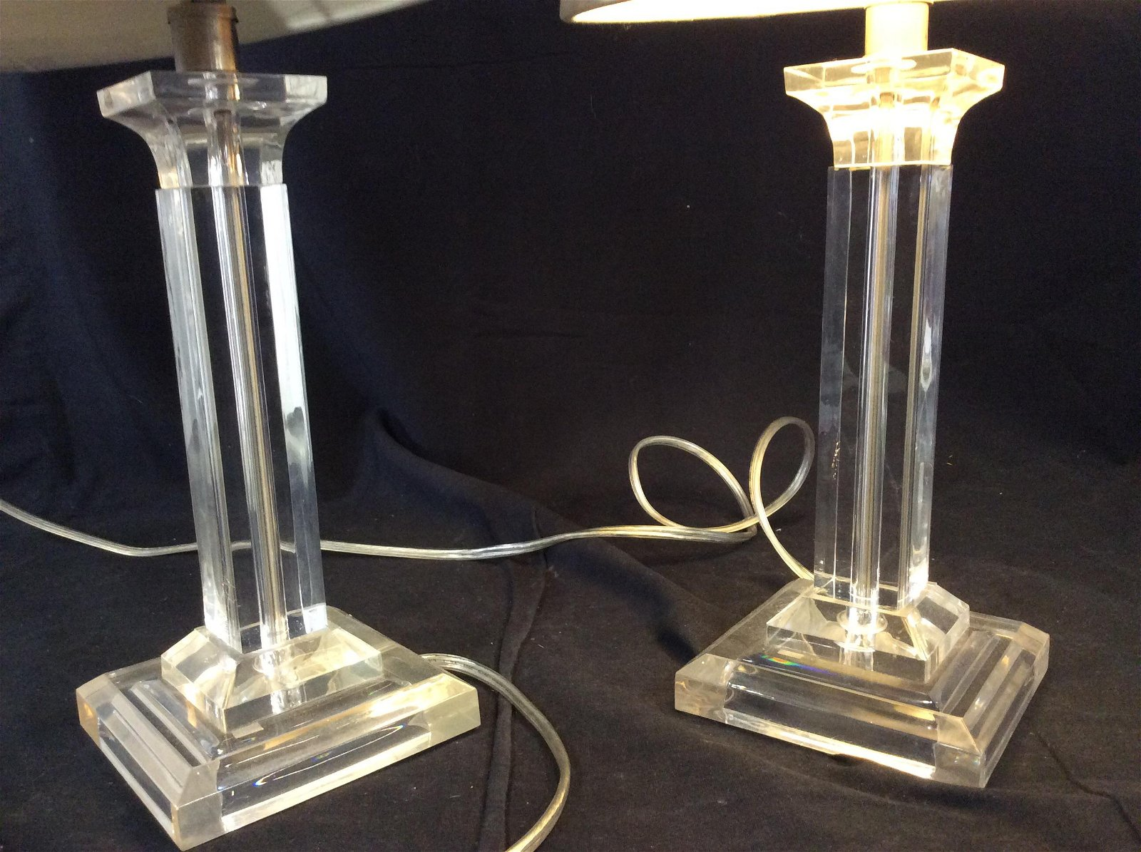 Pair Modern Style Lucite Pillar Table Lamps