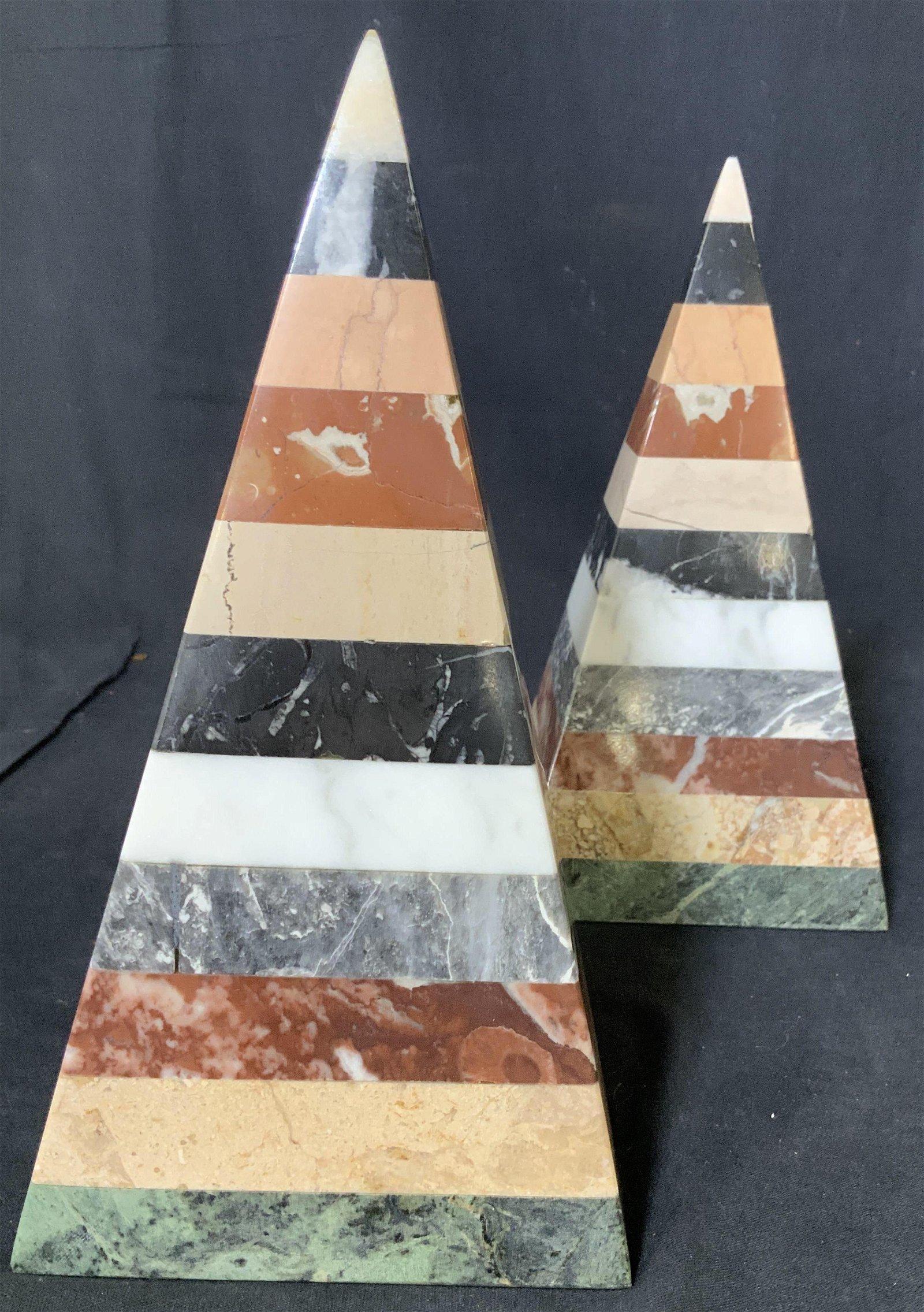Pair Striped Marble Obelisks, Ornaments