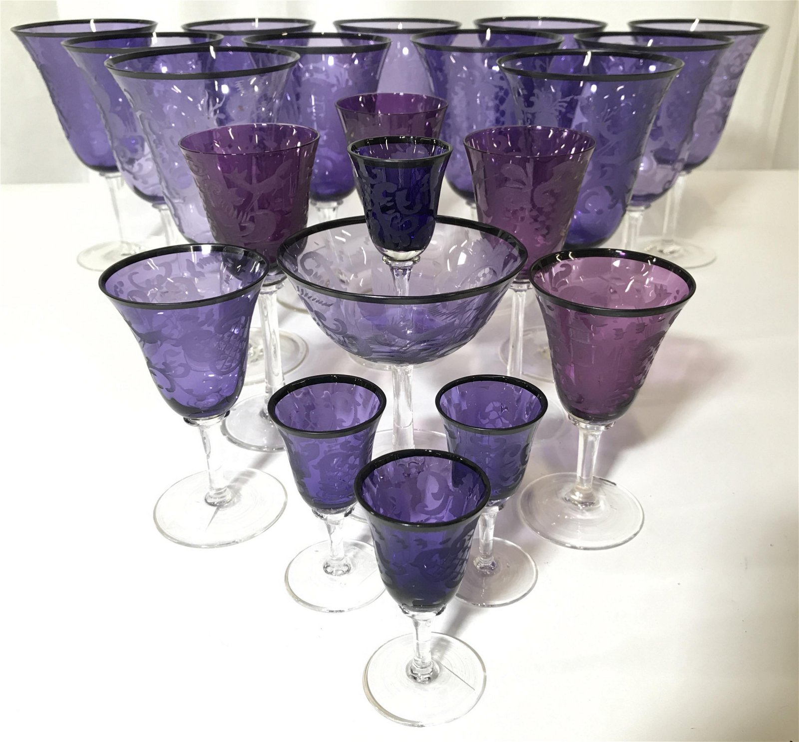 Set 21 Amethyst Toned Frosted Bohemian Glasses