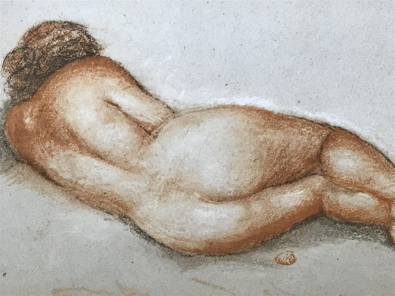 Oil Pastel Female Nude