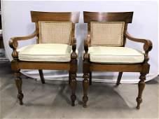 Pair Vintage Carved Wood Caned Klismos Chairs