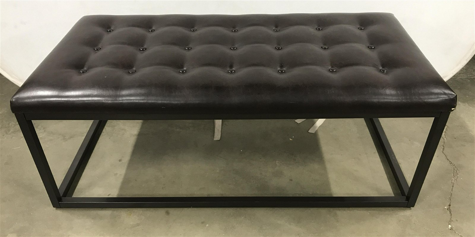 PERMAISURI CO LTD. Tufted Leather Metal Bench