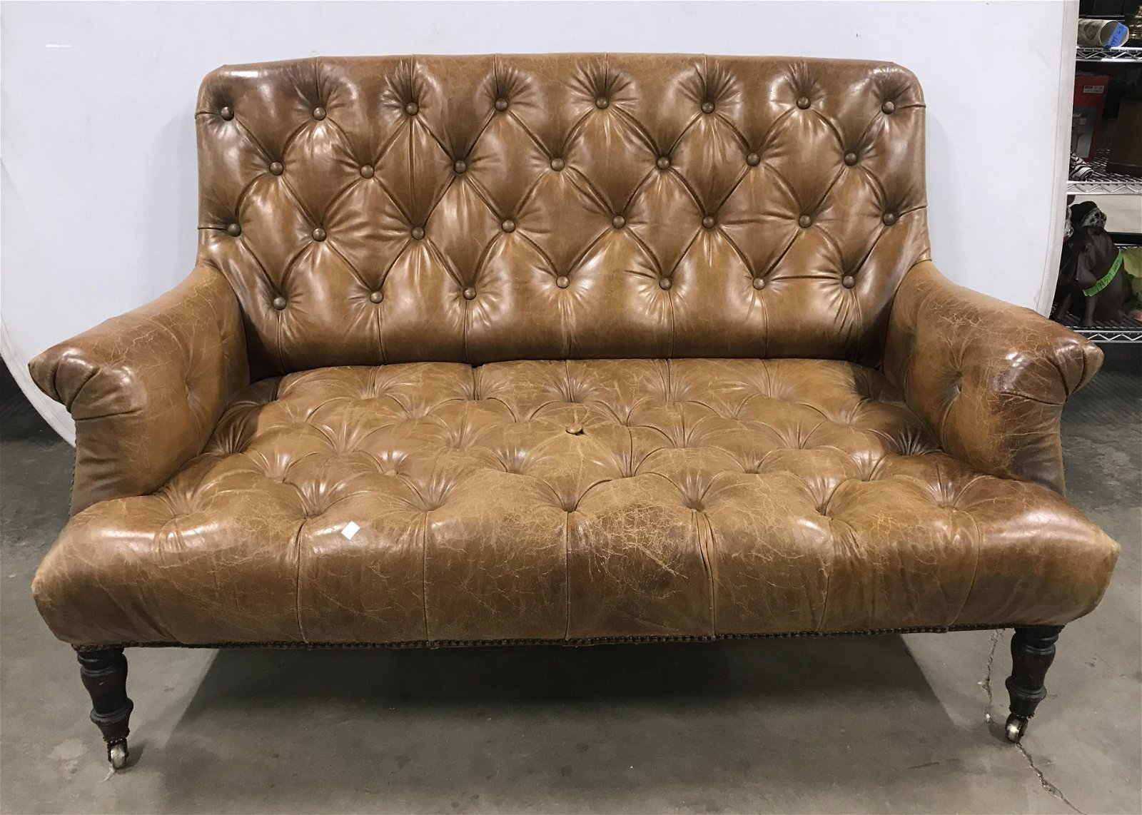 RALPH LAUREN Button Tufted Leather Sofa