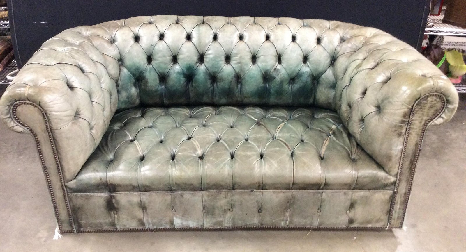 Vintage Leather Tufted Chesterfield Sofa