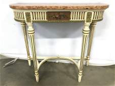 Vintage Italian Console Table W Marble Top