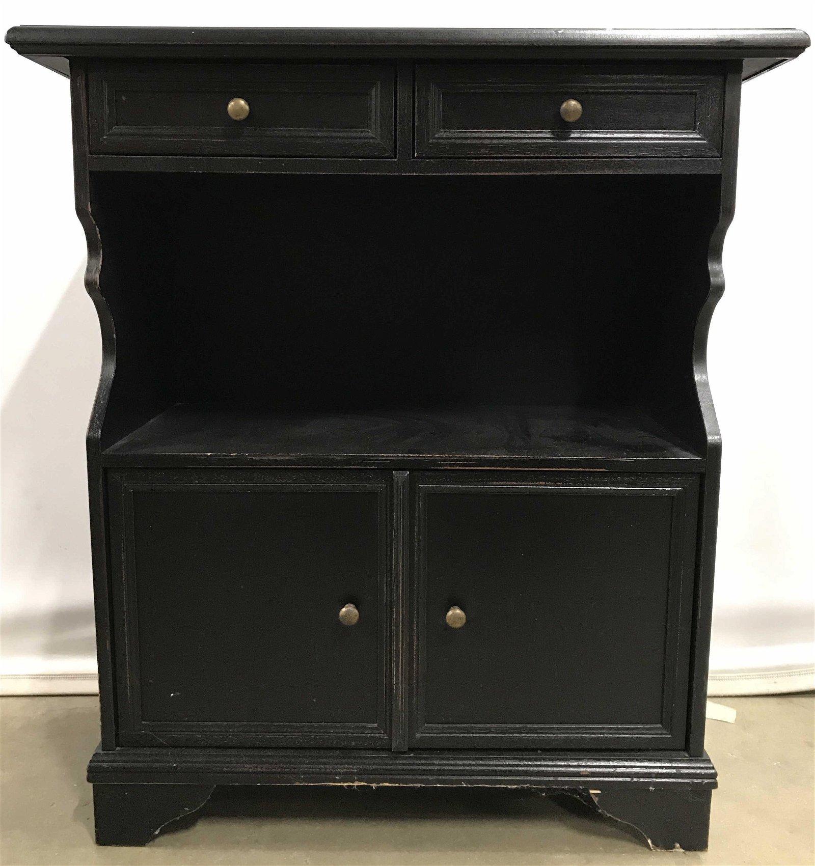 BALLARD DESIGN Black tnd Wood Cabinet Side Table
