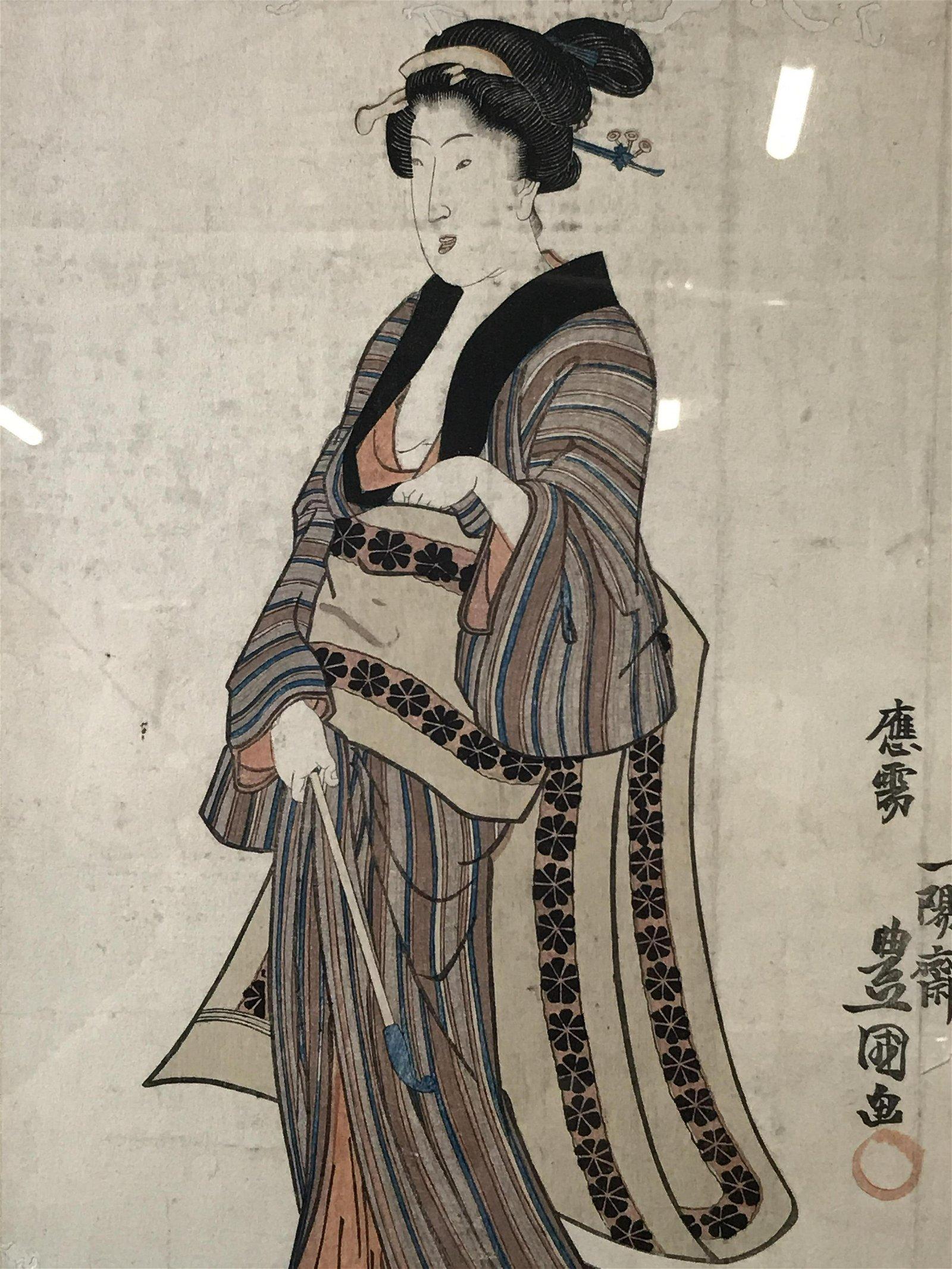 Pair Japanese Paintings on Paper