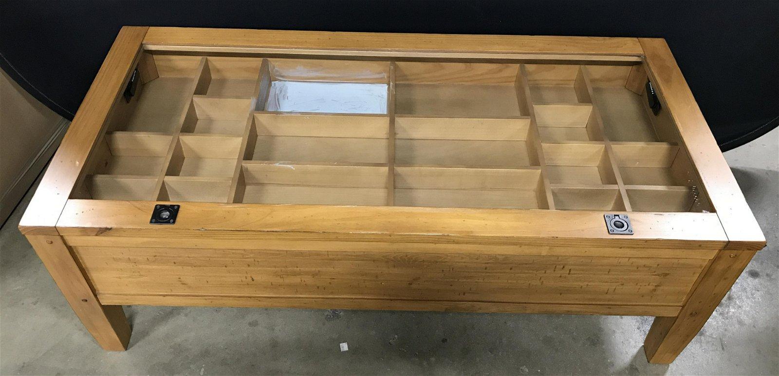 Vintage Wooden Display Case Table