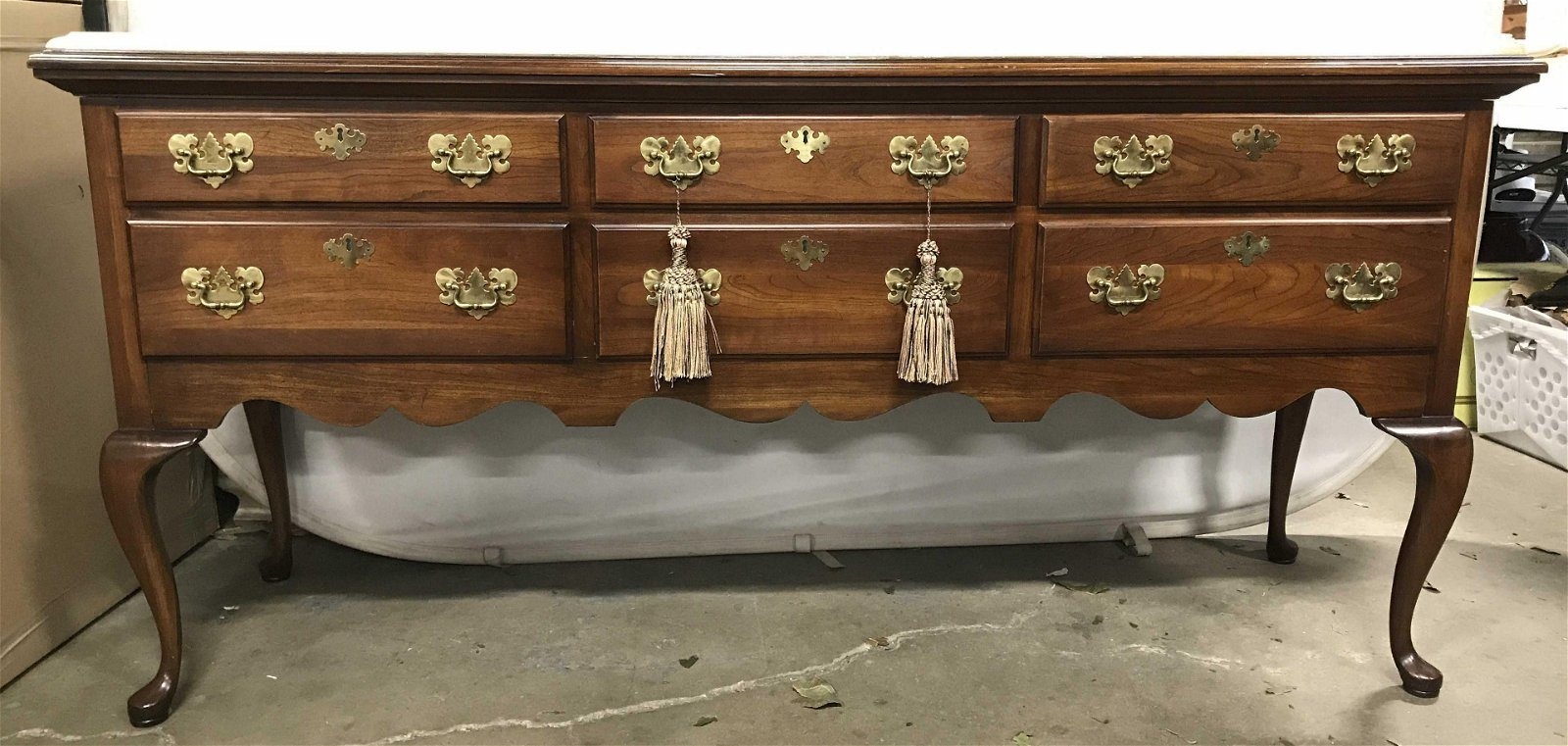 W&J SLOANE Marble Top Carved Wooden Buffet