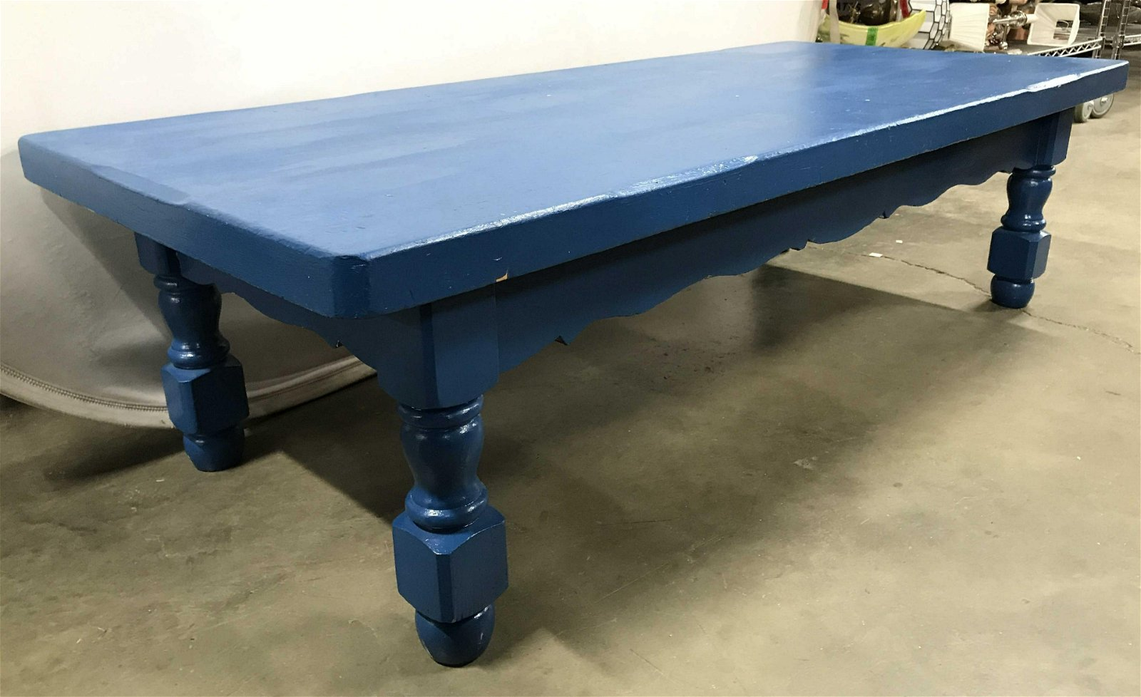 Vintage Blue Carved Wooden Coffee Table