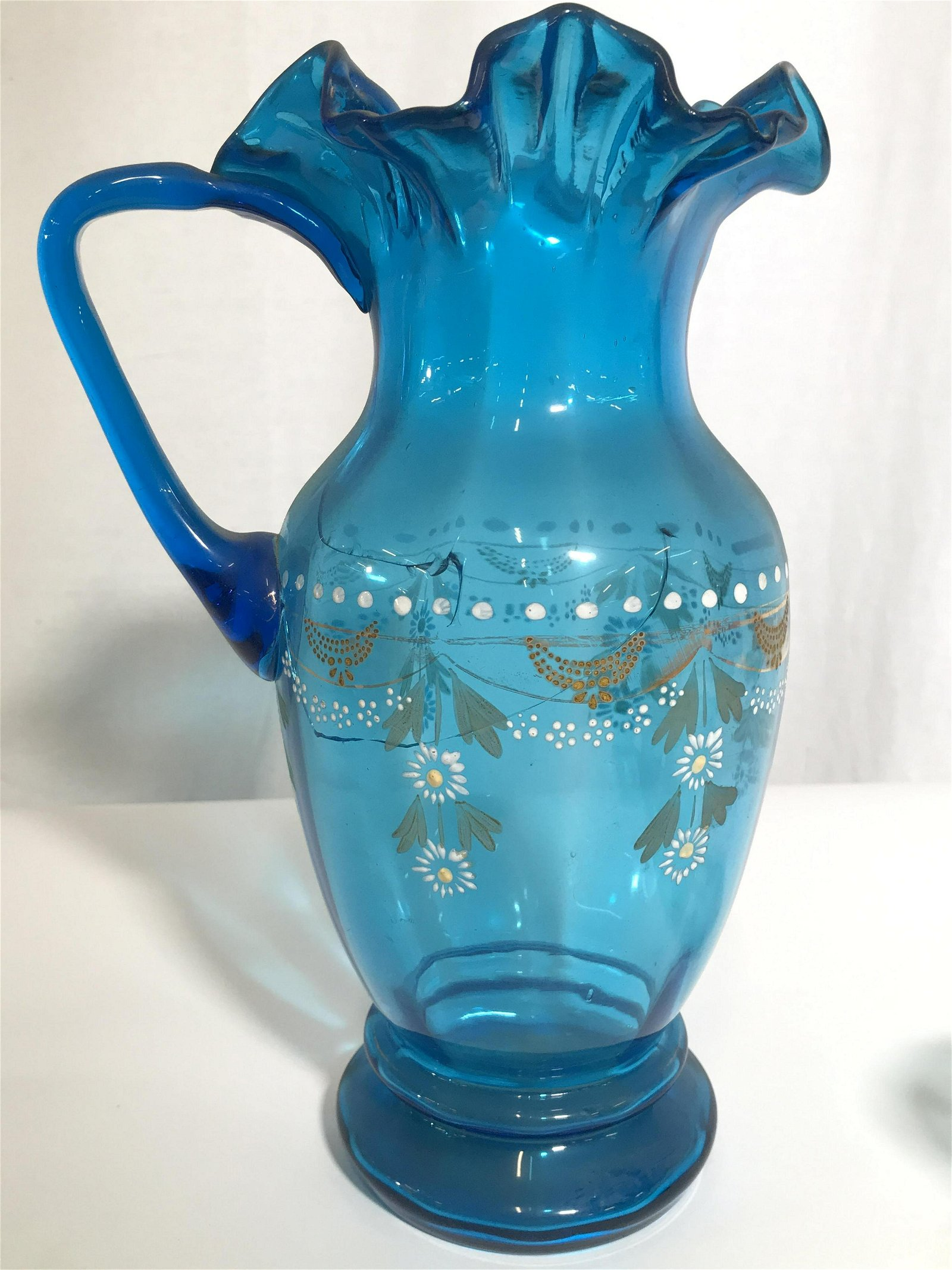Set 4 Hand Crafted Art Glass Pitcher & Glasses