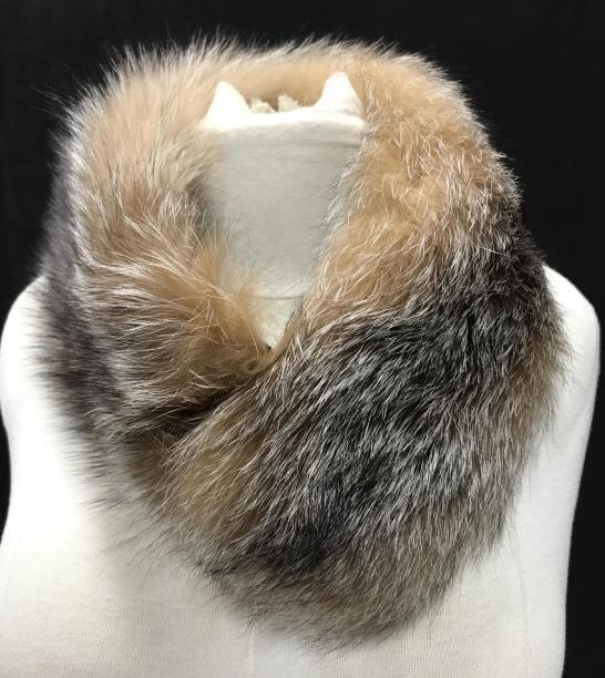 Red- Brown w/ Black Fox Fur Neck Collar Scarf