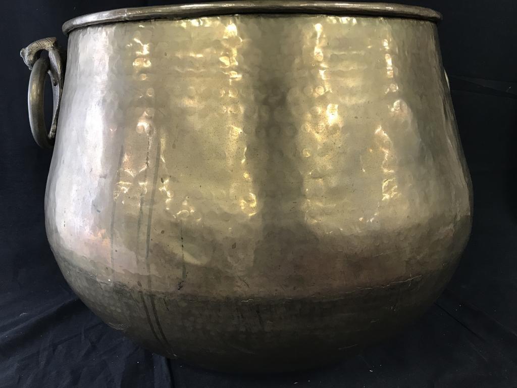 Oversize Brass Firewood Bucket w/ Ring Handles