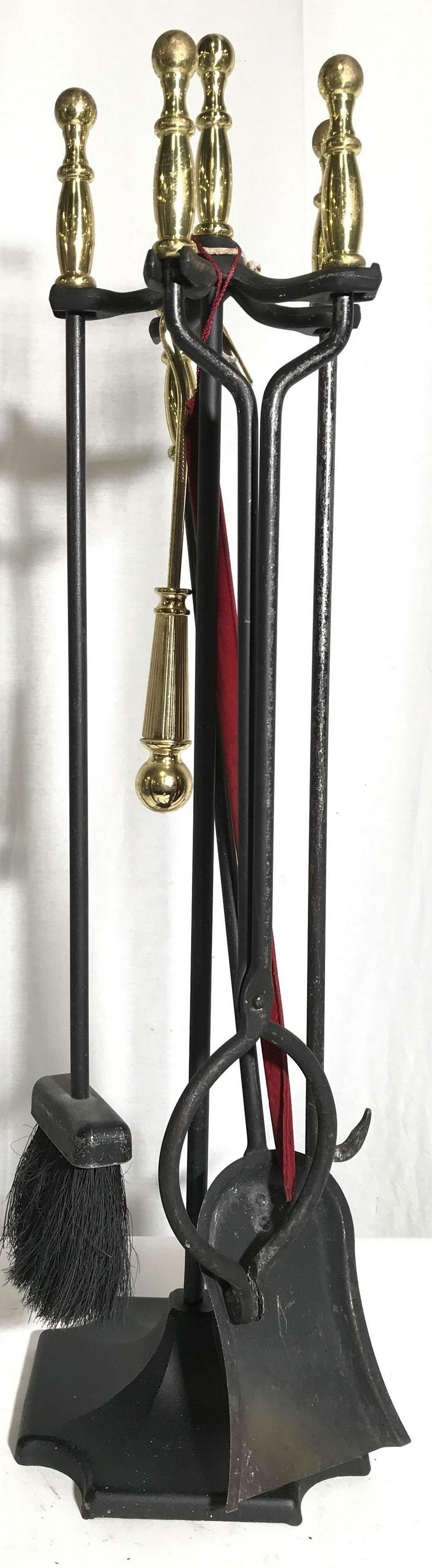 Set 5 Vintage Metal Fireplace Tools W Stand
