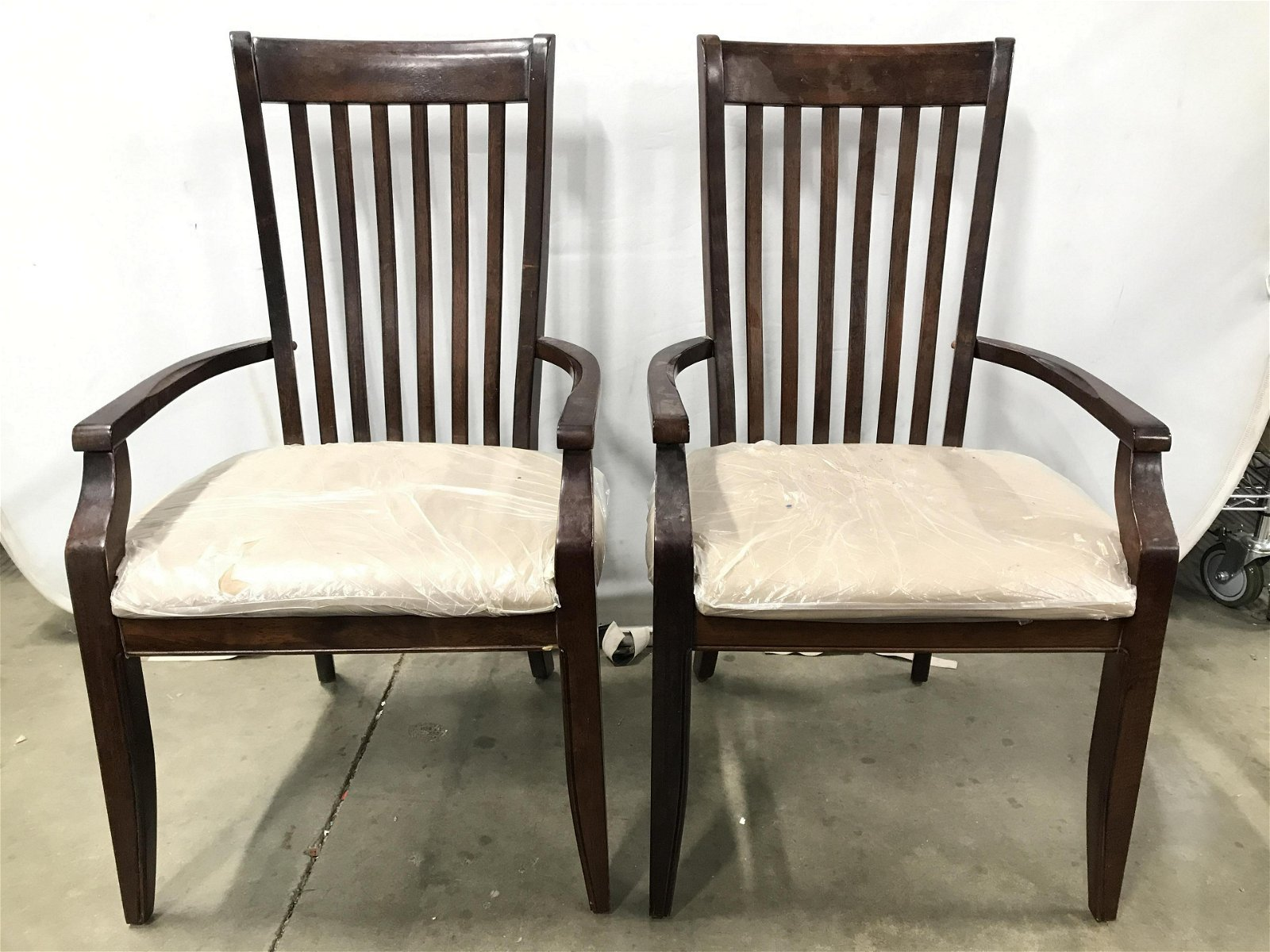 Pair Vintage Wooden End Chairs