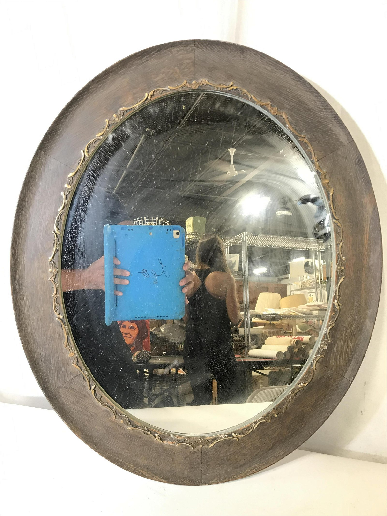 Vintage Oval Shaped Carved Wooden Mirror